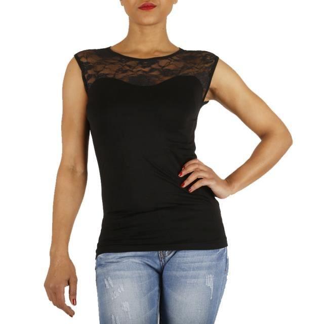 top moulant en dentelle noir couleurs noir noir achat vente t shirt 3663066126342. Black Bedroom Furniture Sets. Home Design Ideas