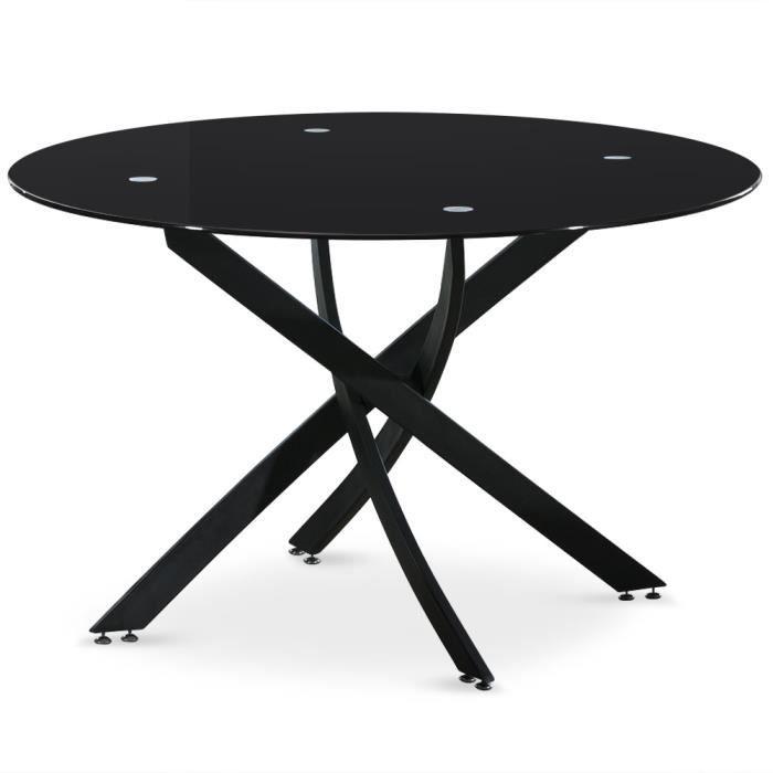 Table croisade black verre noir achat vente table - Table a manger verre noir ...