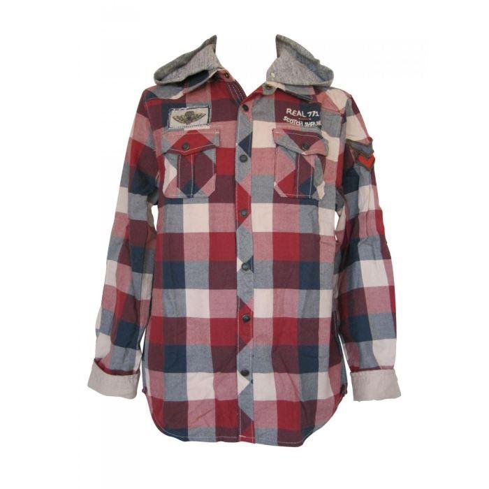 chemise carreaux capuche amov rouge achat vente chemisier blouse soldes d hiver d s. Black Bedroom Furniture Sets. Home Design Ideas