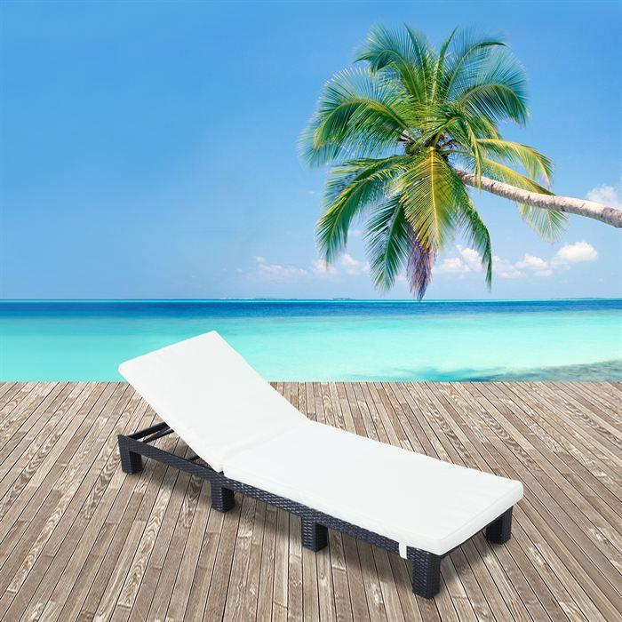 Bain de soleil lounge pisa transat noir achat vente for Bain de soleil de jardin