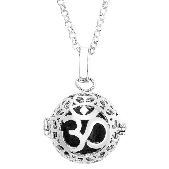 bijouterie colliers et sautoirs bola de grossesse platine om symbole roche volcani f  auc