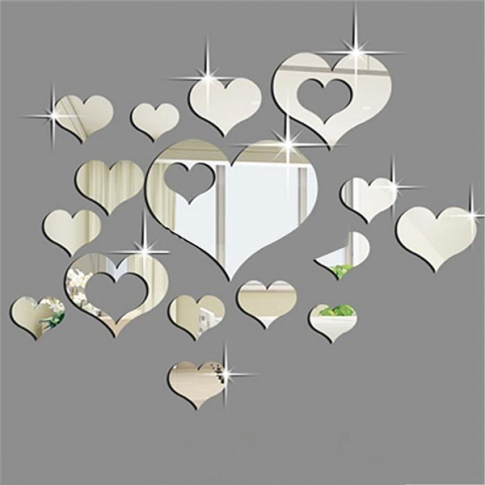 3d stickers muraux 16pcs argent coeurs miroir d coration for Decoration miroir