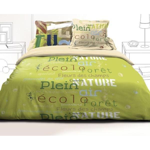 parure drap plat 240x300 cm drap housse 140x190 cm 2 taies d oreiller echappee vert achat. Black Bedroom Furniture Sets. Home Design Ideas