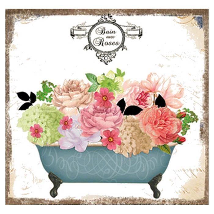 Tableau cadre toile lin jardin retro romantique m3 achat for Decoration jardin romantique