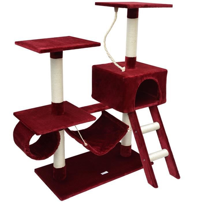 arbre chat en peluche sisal bordeaux 118 cm achat vente griffoir poteau arbre chat en. Black Bedroom Furniture Sets. Home Design Ideas