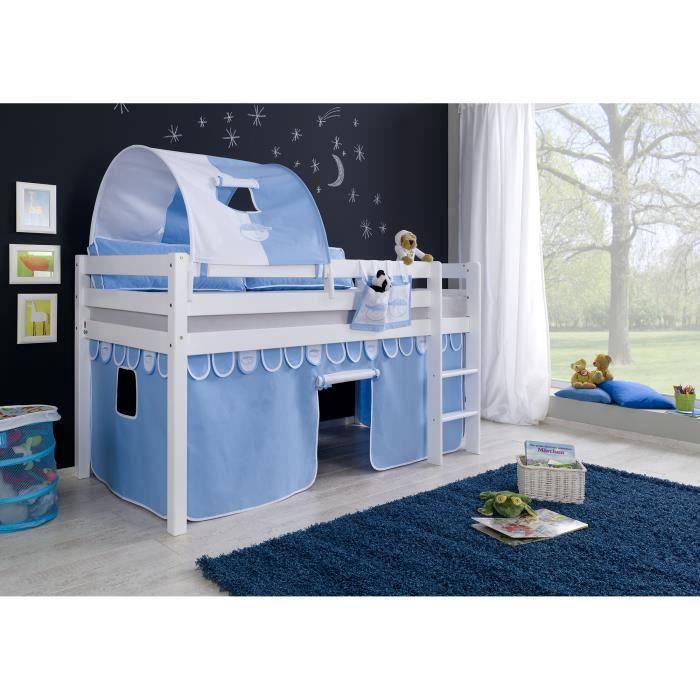 lit mezzanine avec 1 tunnel de jeu coloris bleu et blanc. Black Bedroom Furniture Sets. Home Design Ideas