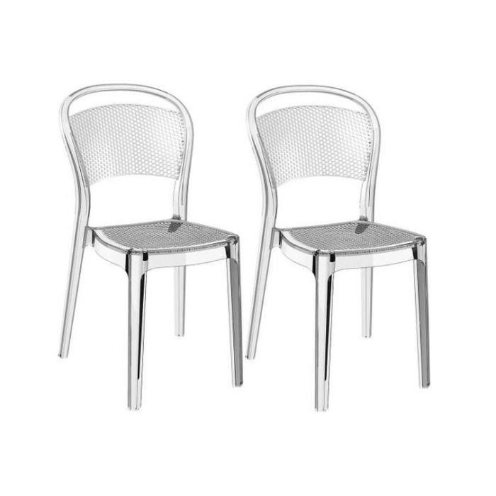Lot De 2 Chaises Design Transparentes Soubi Achat Vente Chaise Cdiscount