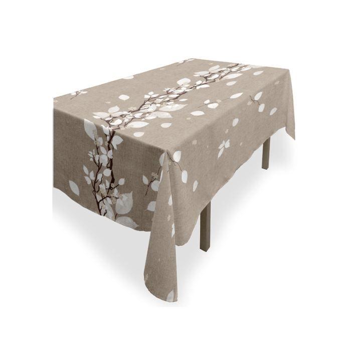 nappe rectangle anti tache coton recycl leave achat vente nappe de table soldes d t. Black Bedroom Furniture Sets. Home Design Ideas