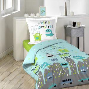 parure de lit monstres achat vente parure de lit monstres pas cher cdiscount. Black Bedroom Furniture Sets. Home Design Ideas