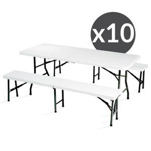 table pliante avec bancs achat vente table pliante avec bancs pas cher soldes cdiscount. Black Bedroom Furniture Sets. Home Design Ideas