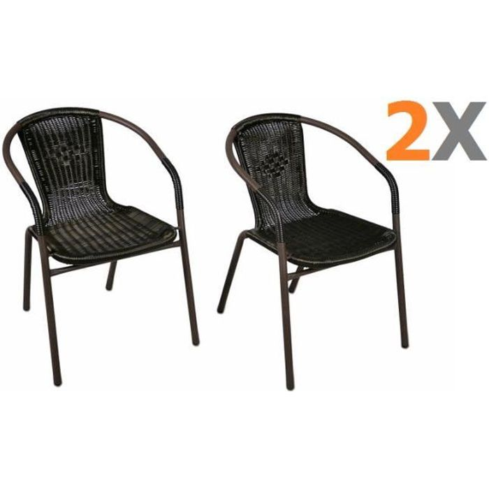 2 x chaises bistro poly rotin empilable achat vente for Soldes chaises rotin