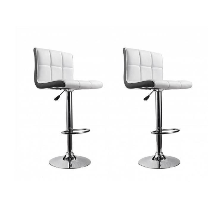 2 tabourets de bar new york couleur blanc noir achat vente tabouret de bar blanc pieds for Tabouret bar couleur