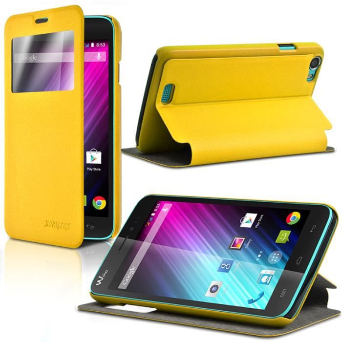 Etui s view fonction support pour wiko lenny achat for Housse wiko lenny 4