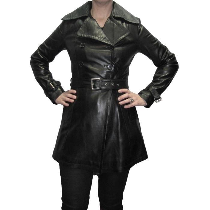trench femme en cuir agneau noir achat vente. Black Bedroom Furniture Sets. Home Design Ideas