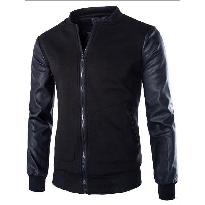 nouveau automne hommes couture veste printemps veste de baseball en cuir pu noir achat vente. Black Bedroom Furniture Sets. Home Design Ideas