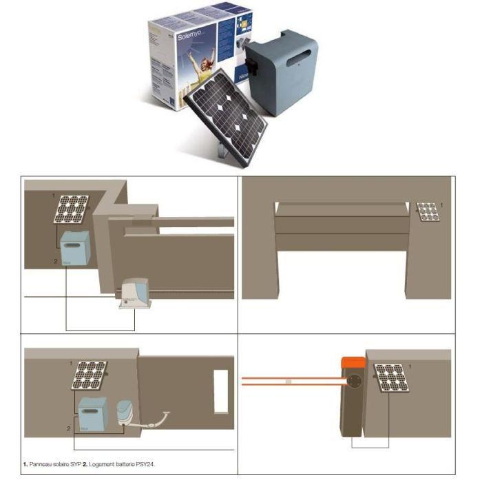 nice solemyo kit alimentation solaire pour automat achat vente accessoire de portail nice. Black Bedroom Furniture Sets. Home Design Ideas