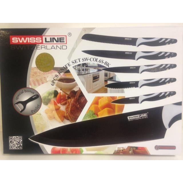 Set de 6 couteaux swissline achat vente couteau de - Set couteaux de cuisine ...