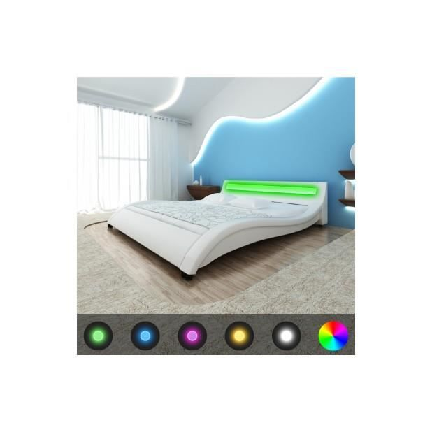 superbe lit en pucuir pu avec t te de lit led 180 cm blanc. Black Bedroom Furniture Sets. Home Design Ideas