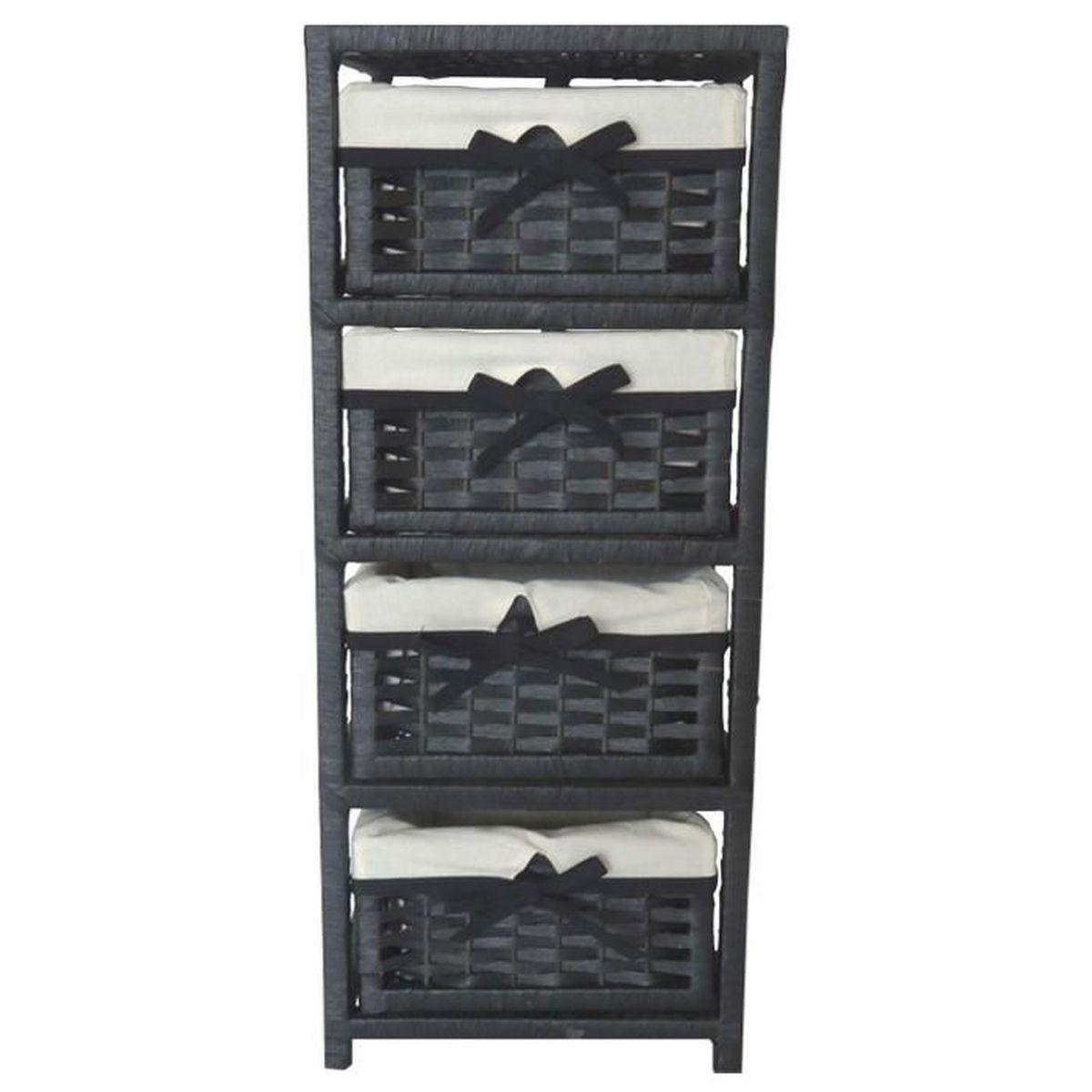 Meuble colonne 4 paniers de rangement ardoise achat vente petit meuble ra - Meuble rangement panier ...