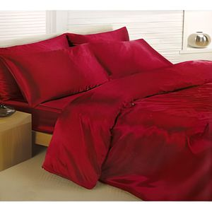 housse de couette satin rouge achat vente housse de couette satin rouge pas cher cdiscount. Black Bedroom Furniture Sets. Home Design Ideas