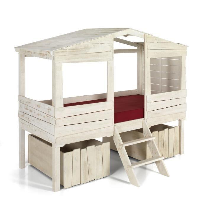 Woody wood lit cabane 90x200cm avec 2 tiroirs de rangement - Boite de rangement avec tiroir ...