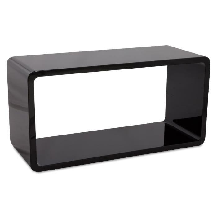 Cube de rangement 39 uno 39 en bois laqu noir bril achat for Planche bois noir laque