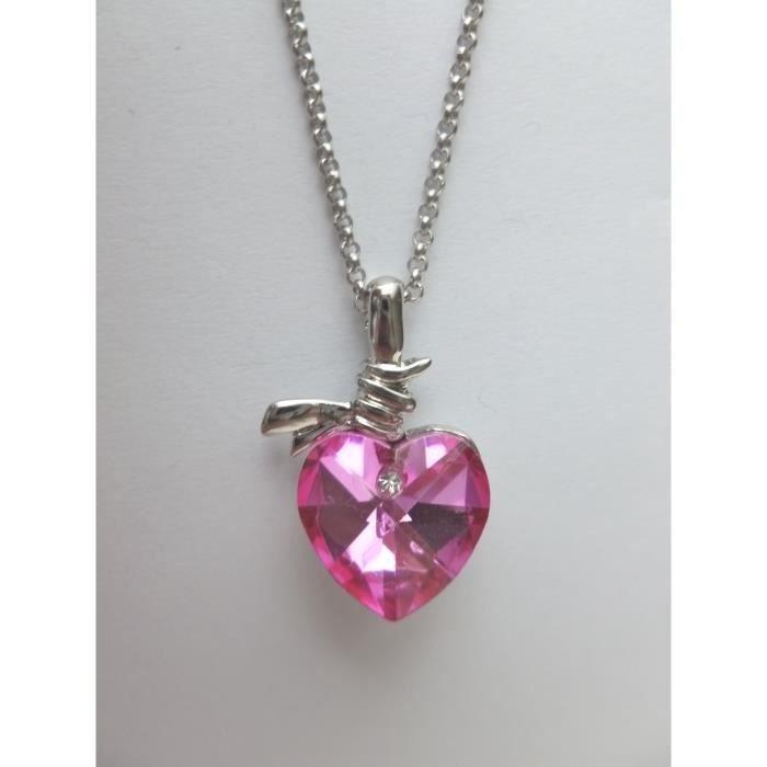 collier femme cristal rose