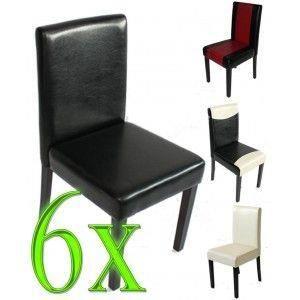 Lot de 6 chaises de s jour m01 similicuir noir achat vente chaise cdisc - Chaises sejour design ...