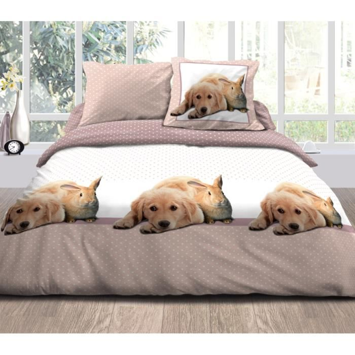 parure housse de couette 100 coton chien et achat vente parure de couette cdiscount. Black Bedroom Furniture Sets. Home Design Ideas