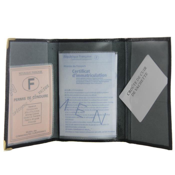 ideomod porte papiers 3 volet en croute de cuir permis carte grise assurance achat vente. Black Bedroom Furniture Sets. Home Design Ideas