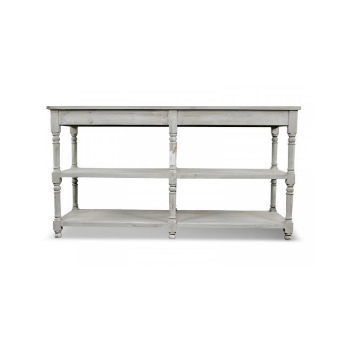 Meuble console drapier bois ceruse blanc 162x54x87cm - Console pour cuisine ...
