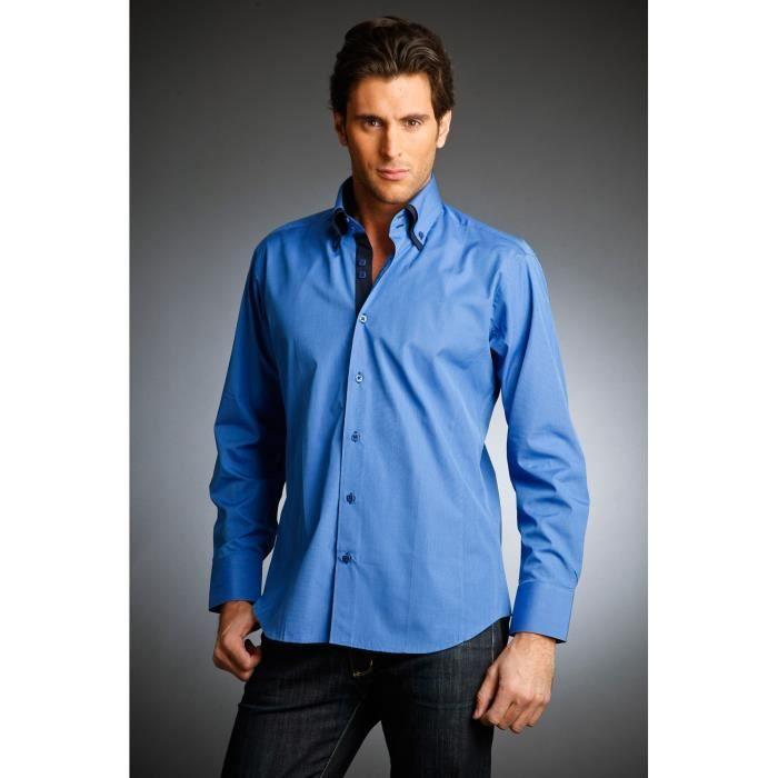cette chemise homme bleu roi ass bleu roi et bleu marine achat vente chemise chemisette. Black Bedroom Furniture Sets. Home Design Ideas