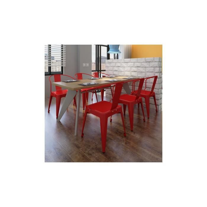 6 chaises de salle manger avec dossier rouge achat for Chaises salle manger cuir dossier haut