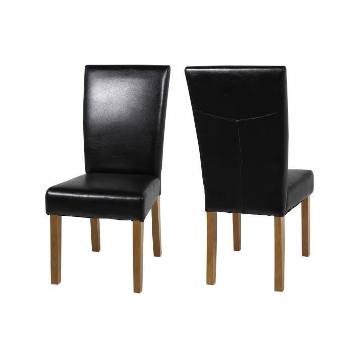 Lot de 2 chaises salle manger ilana en simili cu achat for Chaise de salle a manger en chene