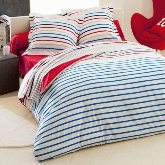 housse de couette et taie d 39 oreiller bleu 140x200 achat vente parure de couette cdiscount. Black Bedroom Furniture Sets. Home Design Ideas