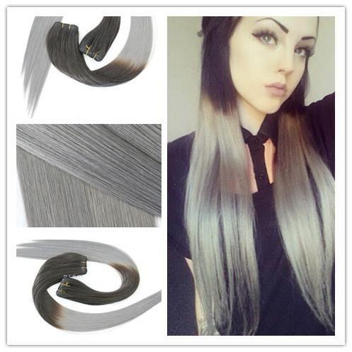 3 tissages br siliens cheveu ombre grise les extensions de cheveux 100 cheveux remy gris. Black Bedroom Furniture Sets. Home Design Ideas