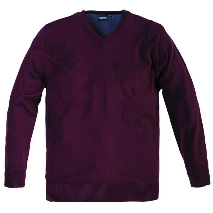 grande taille pull col v rouge en coton pour homme rouge achat vente pull cadeaux de. Black Bedroom Furniture Sets. Home Design Ideas