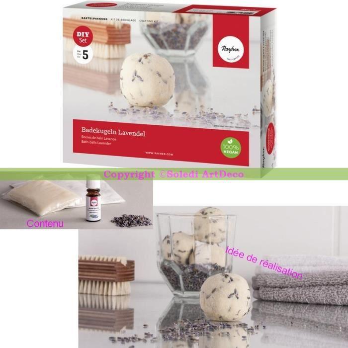 Kit de r alisation boule de bain lavande coffret diy pour for Bain relaxant maison