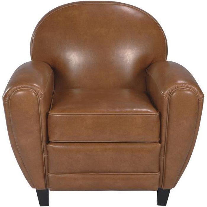 fauteuil club cuir camel achat vente fauteuil mati re de la structure bois panneaux de. Black Bedroom Furniture Sets. Home Design Ideas