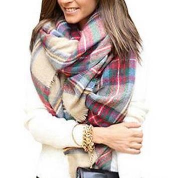 Charpe femme laine plaid 140 140cm achat vente echarpe foulard 2009902246347 cdiscount - Echarpe plaid femme ...