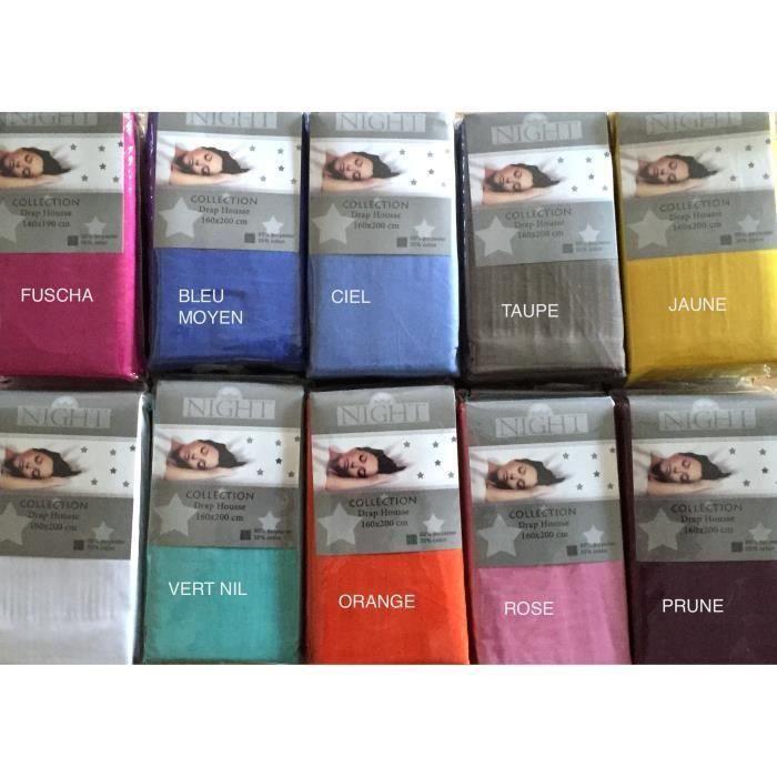 drap housse 160x200 polycoton fuschia achat vente drap housse cdiscount. Black Bedroom Furniture Sets. Home Design Ideas