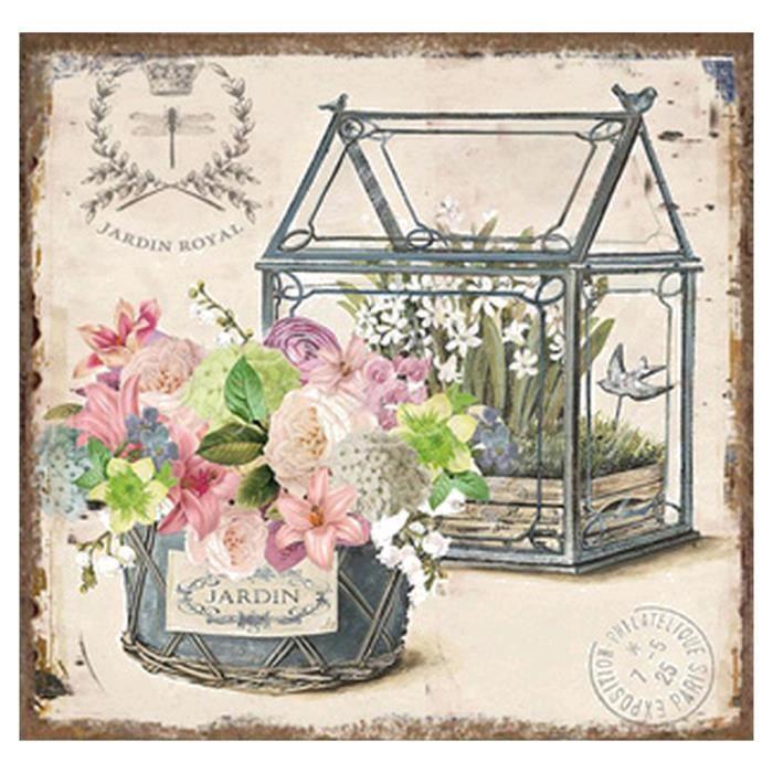 Tableau cadre toile lin jardin retro romantique m5 achat for Decoration jardin romantique