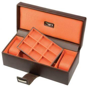 boite cuir noir orange 2 montres 9 bdm dulwich tendance achat vente boite a montre. Black Bedroom Furniture Sets. Home Design Ideas