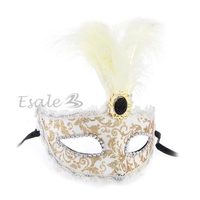 Masque v nitien venise plume or blanc pour halloween f te for Decorer un masque blanc