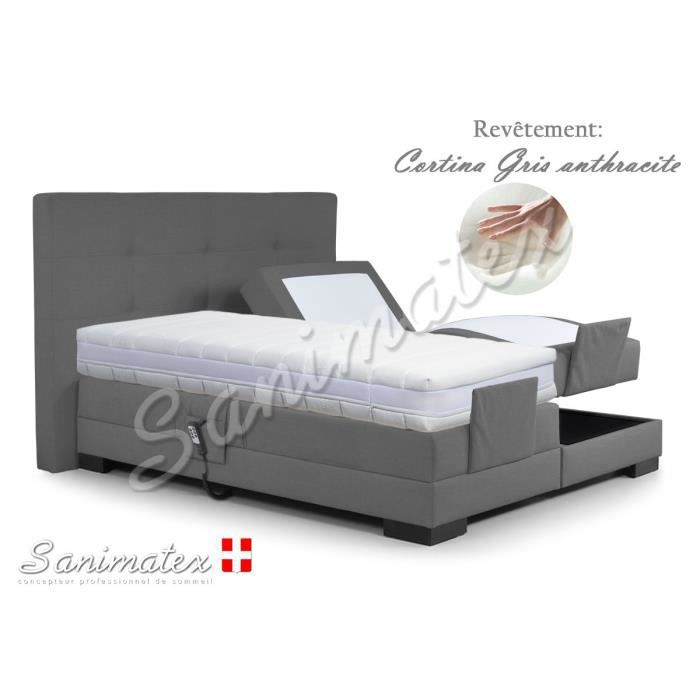 lit electrique boxspring 160x200 guatemala niagara gris anthracite achat vente lit complet. Black Bedroom Furniture Sets. Home Design Ideas