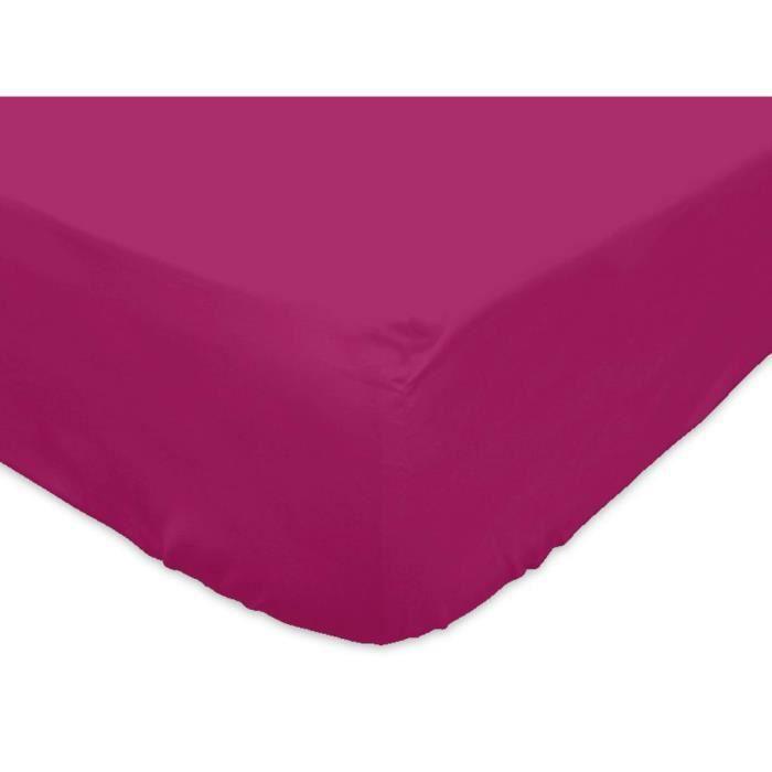 drap housse coton fushia pour lit 2 places eden achat vente drap housse. Black Bedroom Furniture Sets. Home Design Ideas