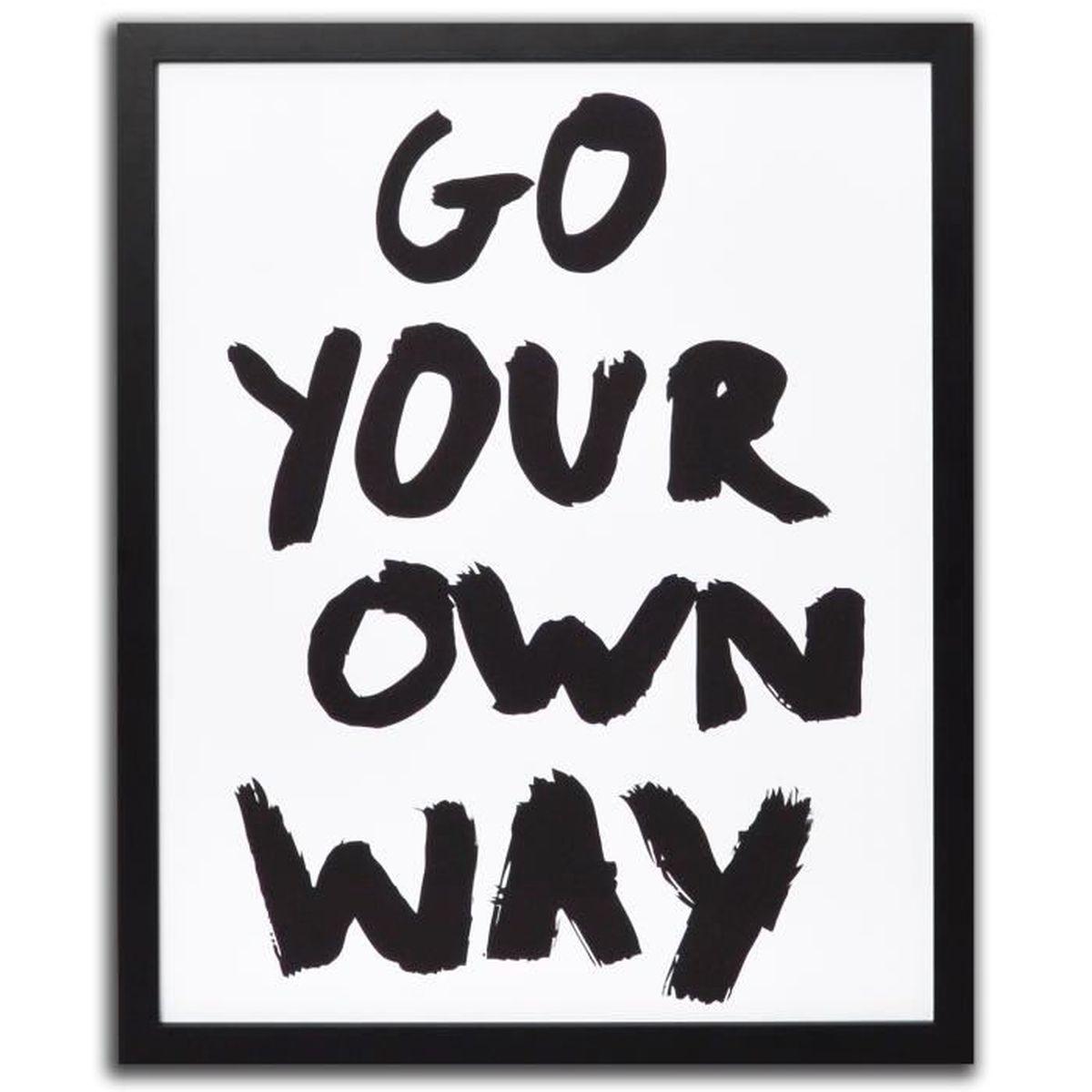 words affiche way encadr e noire et blanche 40x50cm noir achat vente tableau toile. Black Bedroom Furniture Sets. Home Design Ideas