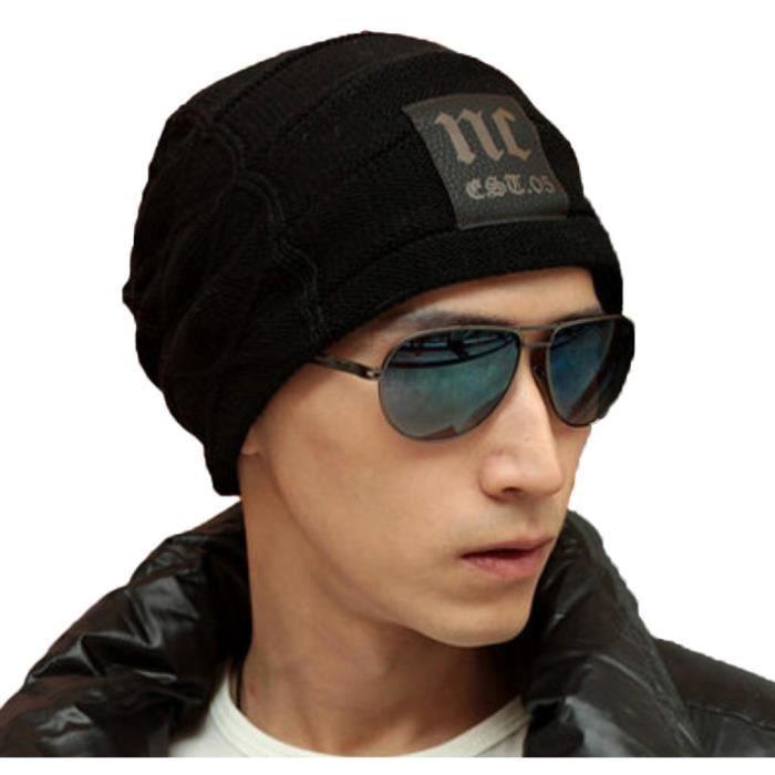 bonnet hiver homme tricot avec motif beanie reversible adulte sportif chaud unisexe achat. Black Bedroom Furniture Sets. Home Design Ideas