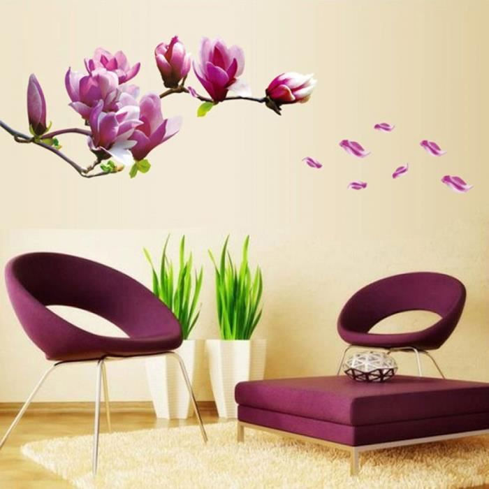 violet magnolia fleur stickers muraux chambre salon stickers muraux d coration salon autocollant. Black Bedroom Furniture Sets. Home Design Ideas