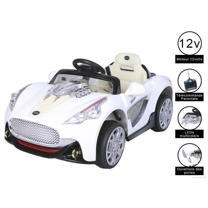 cristom voiture lectrique sport 12 volts blanc achat vente voiture enfant les soldes. Black Bedroom Furniture Sets. Home Design Ideas